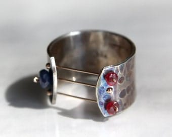 Hand Forged Sterling Silver Ring, Ruby and Sapphire Ring
