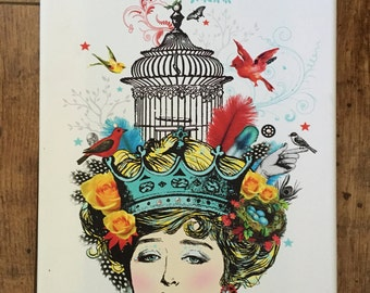 "Free Shipping ""Zoey"" Head Case Art collage canvas print red/birdcage/turquoise/vintage/feathers"