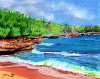 hawaii art  8 x 10 giclee print kauai beach art kauai paintings for sale kauai fine art hawaiian art galleries mahaulepu beach sand waves