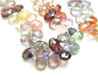 RESERVED - Multi Spinel Petite Faceted Drops - Full Strand - 5x7mm - 6 Inches