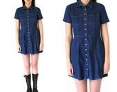 Reserved// button up denim dress 90s minimalist dark jean mini dress small