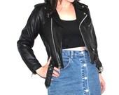 small leather moto jacket 80s vintage Harley Davidson genuine black leather motorcycle jacket