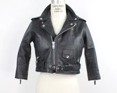 vintage black leather jacket | cropped moto jacket | black leather biker jacket | xs