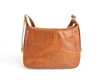 The Finishing Touch | Vintage 1960s Alligator Embossed Leather Handbag | Structured Brown Leather Purse