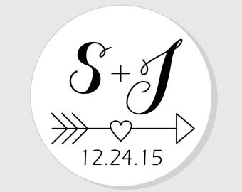 Save the Date Wedding Stickers Personalized heart with arrow - matte white finish - 1.5 inch - 2 inch - 2.5 inch - 3 inch - Bridal Shower