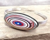 Fordite bracelet, fordite jewelry, sterling silver cuff bracelet, gift for wife, Detroit Agate, girlfriend gift for her, handmade cuff