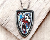 Fordite necklace Detroit Agate necklace Fordite jewelry, gift for her, sterling silver statement necklace, mans gift for him, fathers day