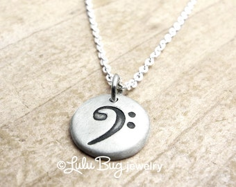Bass clef necklace, music necklace, musical jewelry, music note necklace, gift for her, silver bass clef charm