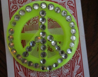 Large Plastic Yellow or Lime Green Peace Signs with Rhinestones Slides