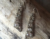 Vintage Repurposed Rhinestone earrings on Sterling Silver, Long Dangle Earrings, gifts for her, gifts under 25, black friday etsy