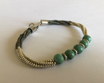 Turquoise With Silver and Brown Bracelet