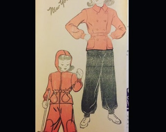 Vintage 40s Girls Double Breasted Zip Button Front Ski Snow Suit Snowsuit Sewing Pattern 971 12 B30