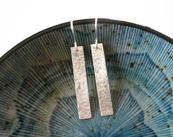 Hammered Silver Bar Earrings in Sterling Silver - Simple Geometric Earrings, Long Silver Hammered Rectangle Earrings