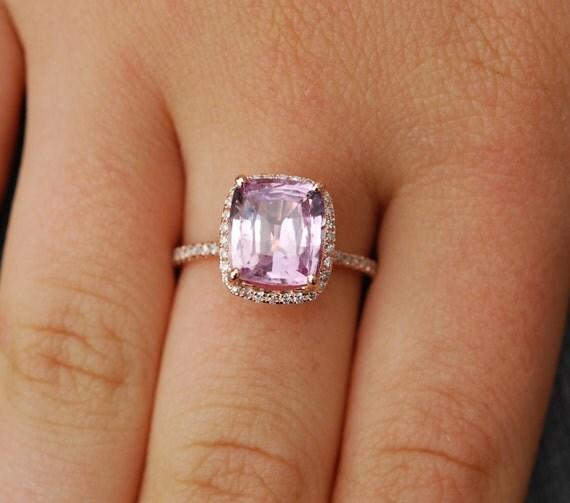 Sapphire Engagement Ring 14k Rose Gold Diamond Ring 3.4ct Cushion Mauve Blush Ice Peach Champagne Sapphire