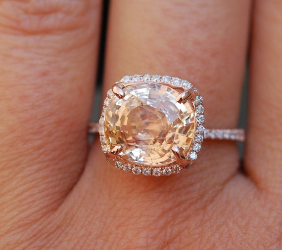 Rose Gold Engagement ring. Peach Pink Sapphire ring. 6.26ct square cushion sapphire 14k rose gold ring.