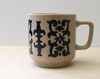 1970s stoneware mug, Victorian revival.