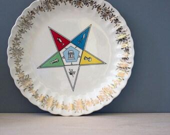 Masonic Eastern Star.  Vintage Secret Society logo mid century wall plate.
