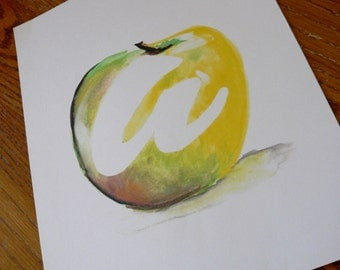 "8.5x11 ""a is for apple"" Giclee Archival Watercolor Fine Art Print"