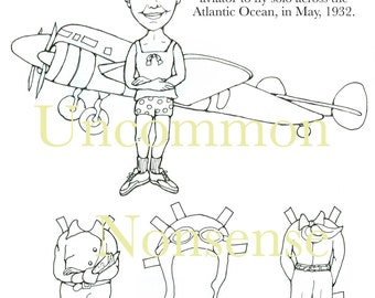 Amelia Earhart Paper Doll to color and cut!