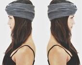 SALE 20% Babooshka Turban Headband Hair Accessory Turband Black / Charcoal Gray Neutral Basic Color Solid Soft Premium Knit Jersey Fabric