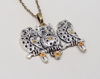 Steampunk owl necklace.