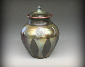Raku Urn or Lidded Vessel with Phases of the Moon-Metallic Iridescent Colors