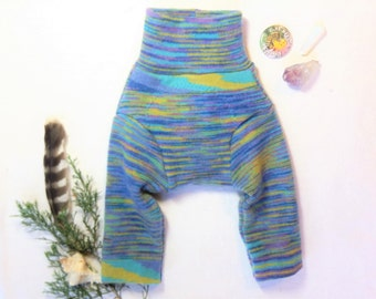 XSmall Wool Longies Cashmere Stripes Upcycled Soaker Diaper Cover / Cashmere Rainbow Stripes with Red