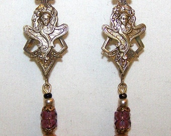 CZECH Vintage Dangling Earrings with Filigree NOUVEAU Lady & Rose Glass Teardrops