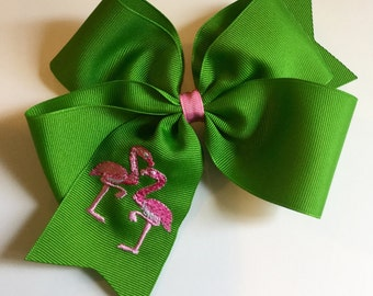 Embroidered Flamingos Hair Bow Big Boutique Pink Green Preppy