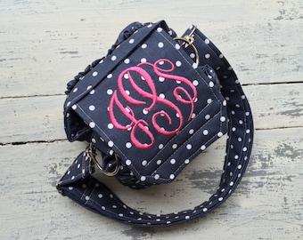 Polka Dot Navy Custom Camera Bag by Watermelon Wishes