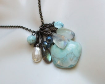 Winter Seas Charm Gemstone Necklace