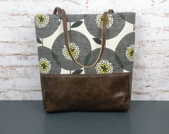 Tote Bag, Floral Print Tote, Leather Bottom Bag, Skinny laMinx purse, sunflower tote, spring carryall, market bag, knitting tote, mom gift
