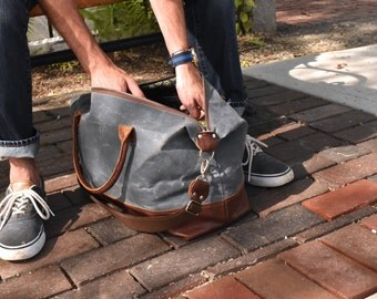 charcoal gray Overnight Bag, Weekender Bag, Leather Travel duffel Bag, Waxed Canvas bag, Large Zippered Overnighter, Carryon Luggage