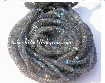 55% OFF SALE Wholesale lot - 14 Strands 196 Inches  Blue flashy Labradorite micro faceted rondelles size 3.5mm Length full 14 inch each