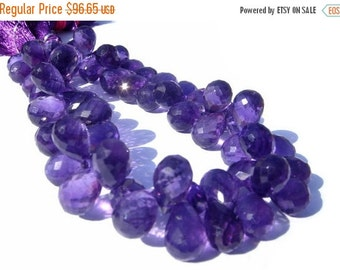 55% OFF SALE 1/2 Strand -  Finest Quality Genuine African Amethyst Micro Faceted Tear Drop Briolettes Large 12x7 - 13x8mm approx