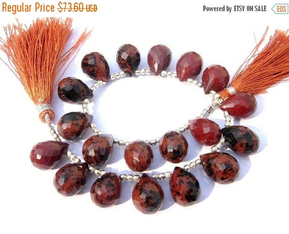 55% OFF SALE AAA Mahogany Jasper Micro Faceted Drop Briolettes Size 14x10mm Set of 18 Pcs as 9 Matched Pair, Natural Stone Fine Quality Whol