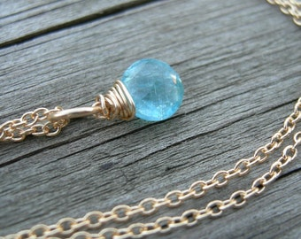 Tiny Apatite Gold Fill Wire Wrapped Necklace