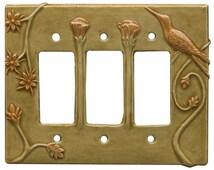 Hummingbird Triple Rocker Switch Plate in apricot gold glaze