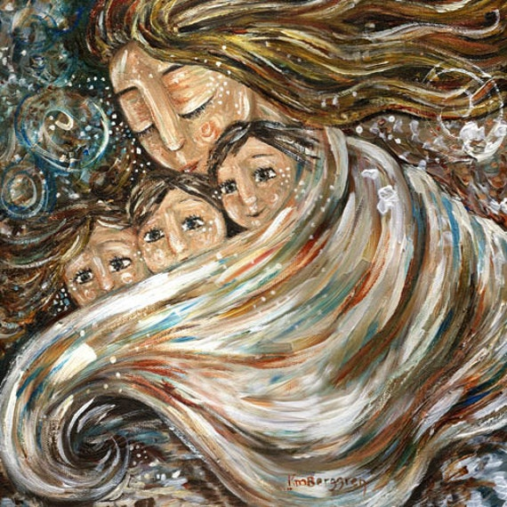 mother and child warm winter white blue - Warmth In The Cold - archival signed 12x12 motherhood print
