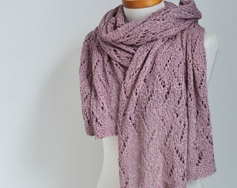 Lace knitted shawl, pink,  N401