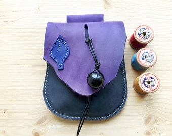 Fairytale woodland, hip bag, belt bag, Leather Pouch JINKS 3028 violet, moody blue, ultramarine