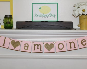 pink gold birthday decoration decor highchair banner smash cake I AM ONE first 1st