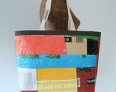 ON SALE! Tote Bag, Patchwork Recycled Feed Bag, made in Maine, eco-friendly gift