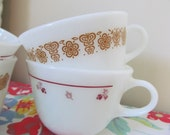 Four Vintage Coffee Cups - Pyrex Cranberry and Russet Floral Milk Glass Shabby Vintage Cottage