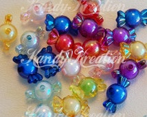 25 Candy Shaped Beads 22mm 12mm AB Plastic Colorful for Kandi Kawaii Deco blue red yellow green pink