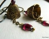 Bells & Gemstone Earrings Etched Brass Oxidized Sterling Silver Rich Warm Color Jewelry Long Lovely Garnet Earrings