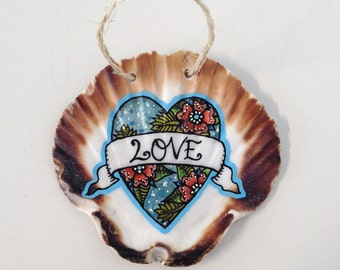 Love Heart Illustrated Sea Shell – Wedding Gift, Wall Hanging