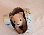 Pretty Blue Pussywillow Teeny Tote Bag with Golden Bear Plush Toy