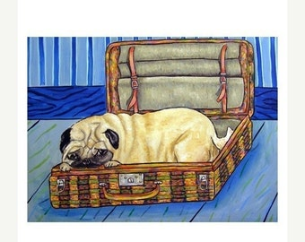 ON SALE Pug in a Suitcase Dog Art Print
