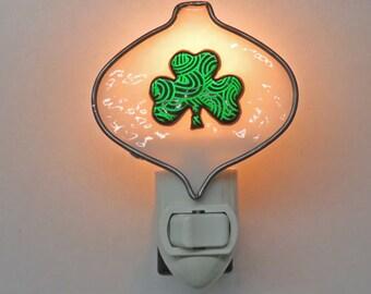 Shamrock Night Light - Dichroic Green Shamrock Nightlight - St. Patrick's Ornament-shape Night Light